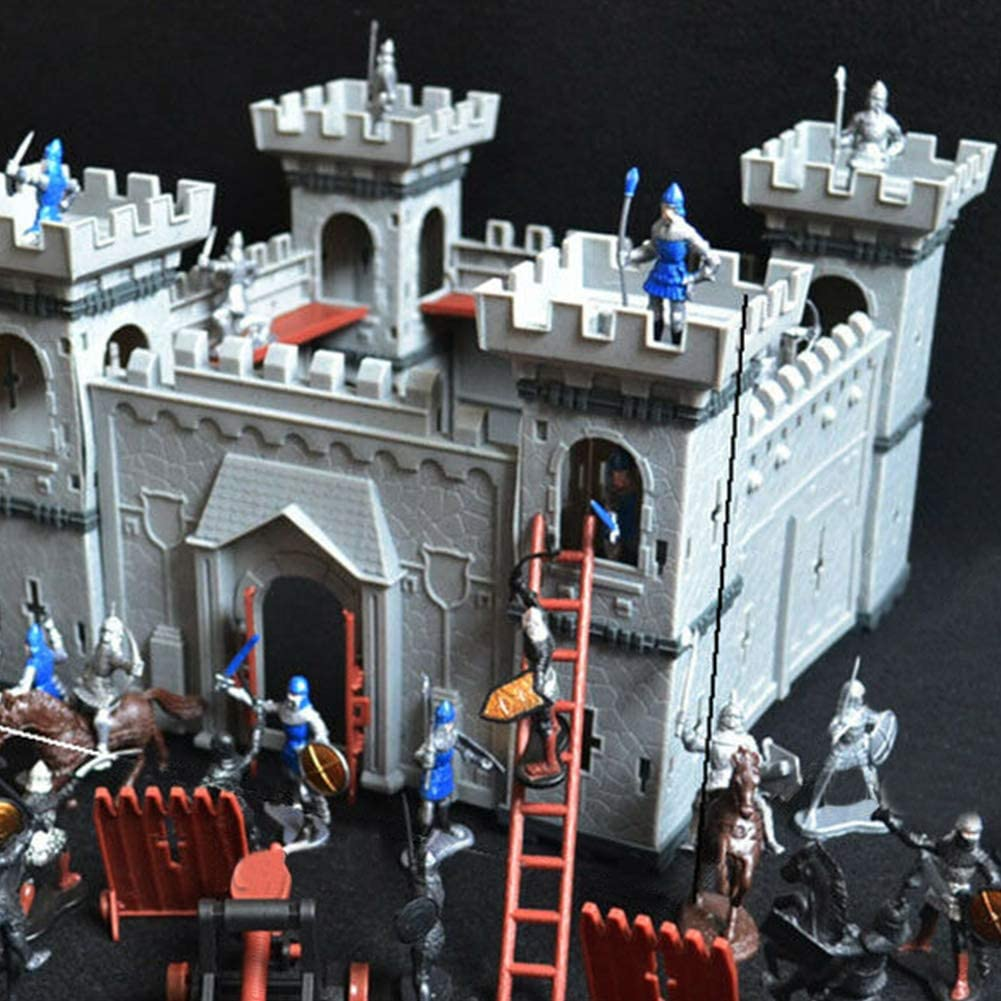 DIY Castle Building The Medieval Times Plastic Fort Model Kit with Figures Soldier Knight Simulated Siege War of Attack Kids Christmas Gift Self-Assembled Castle Model Set