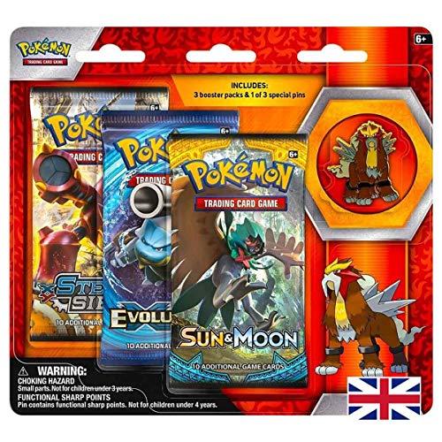 Lively Moments Pokemon Karten X & Y Evolution 3er Pack Pin Blister Entei Englisch EN