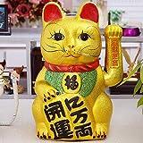 XH&XH Decoración de Gato de la Suerte Gatos Felices de la Suerte con Brazo oscilante Gato de la Suerte para la Fortuna y la Buena Suerte de Oro de 10,2 Pulgadas