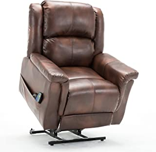 ComHoma Power Lift Recliner Chair Massage Heated Electric Lounge Living Room Sofa Luxurious Bonded Leather Easy Care for Elderly with Remote Brown