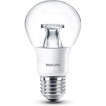 Philips Lighting , La lampe à LED WarmGlow remplace 6W = 40W, E27, blanc chaud (2200 2700 Kelvin), 470 Lumens, dimmable , Transparent