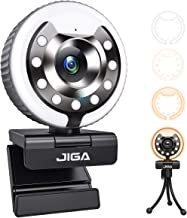 1080P Webcam with Ring Light and Microphone, JIGA HD USB Streaming Web Camera Plug and Play Advanced Auto-Focus Adjustable...