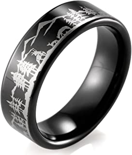 Men's 8mm Black Tungsten Ring with Engraved Deers and Mountains