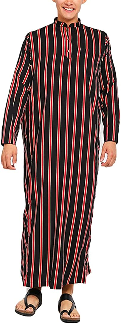 Striped Men Jubba Thobe Islamic Arabic Kaftan Long Sleeve Stand Collar Robes