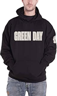 Green Day Hoodie Band Logo Applique Official Mens Black Pullover Black