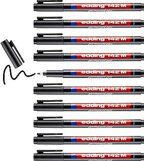edding 142 M Feutre permanent - noir - 10 stylos - pointe ronde 1 mm - stylo pour écrire sur du verre, du plastique, des f...