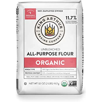 King Arthur, 100% Organic All-Purpose Flour Unbleached, Non-GMO Project Verified, No Preservatives, 2 Pounds (Pack of 12) -Packaging May Vary