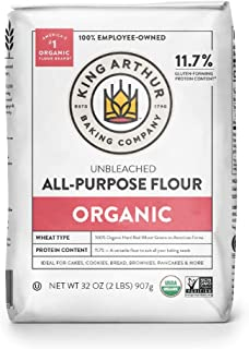 King Arthur, 100% Organic All-Purpose Flour Unbleached, Non-GMO Project Verified, No Preservatives, 2 Pounds (Pack of 12)