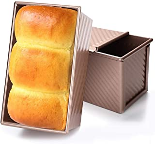 Baking Toast Pan, JUSTDOLIFE Loaf Pan Aluminum Alloy Bread Baking Mold Kitchen Baking Mold Toast Box with Lid for Home Kit...