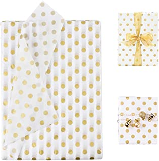 BUZIFU 50 Sheets Gift Wrapping Tissue Paper Polka Dots Tissue Paper Dot Wrapping Paper Gold White Tissue Paper Gold Dots Tissue Paper Gift Wrapping Accessory for Party Decor Gifts Making, 28 x 20 Inch