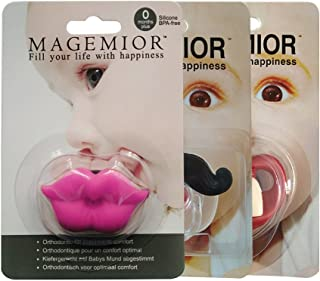 Baby Pacifier, Mustache Pacifier, Funny Baby Pacifier, Gentleman Mustache, Cute Baby Handlebar, Baby Pacifiers for Newborn, [BPA Free][ Latex Free] [3 Pack]