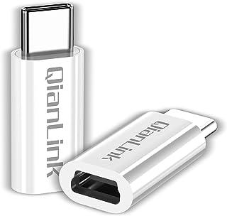 محول USB صغير إلى USB C، (عبوتان) صغير USB أنثى إلى USB C ذكر تحويل الشحن ومزامنة البيانات متوافق مع سامسونج جالاكسي S10 S...