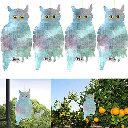 Mioke Búho Repelente de Aves,4pack Búho Espantapajaros, Reflectantes Repelentes de Pájaros para Evitar Que Las Aves Protejan Flores y Jardines