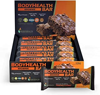 BodyHealth Bar: A Protein Energy Snack (Cocoa-Brownie Flavor, 12pk) with 10g of protein   Plant Based MCT's   Superfood Bl...