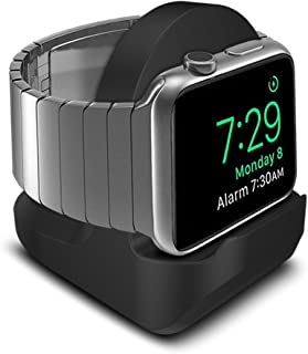 SFCCMM Compact Stand for Apple Watch - Nightstand Mode Compatible - Black Support Stand with Integrated Cable Management Slot (38mm & 42mm Compatible)
