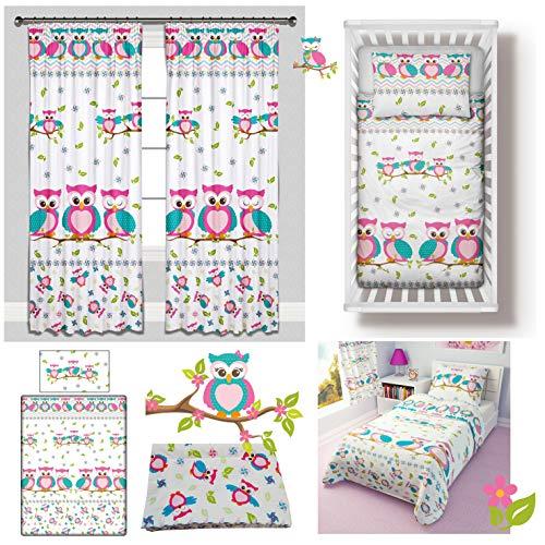Pink Owls Girl Toddler Bedding Set 4-Piece incl Duvet + Pillow + Duvet Cover + Pillowcase (120x150 cm)