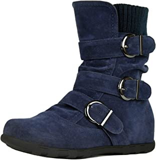 Refresh Footwear Women's Buckle Sweater Knit Flat Ankle Boot (9 B(M) US, Navy)