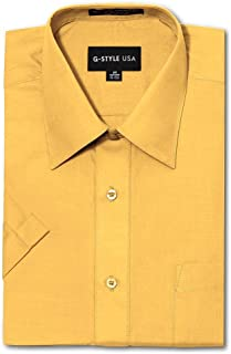 G-Style USA Men's Regular Fit Short Sleeve Solid Color Dress Shirts