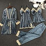 Pajamas Nightwear Women Pajamas Set Soft Keep Warm Sexy Sleepwear Polyester 4Pcs Full Sleeve Strap Nightgown Bath Robe Lingerie Suit M Blue4Pcs
