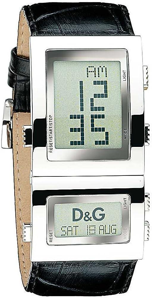 Dolce & gabbana,orologio per donna,in acciaio inossidabile e cinturino in vera pelle al 100% DW0358