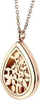 Jovivi Stainless Steel Teardrop Locket Necklace Aromatherapy Essential Oil Diffuser Necklace