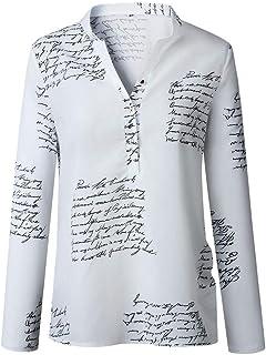 Women Blouse Autumn Fashion V Neck Letters Printing Button Long Sleeve White Turndown Collar T-Shirt Tops