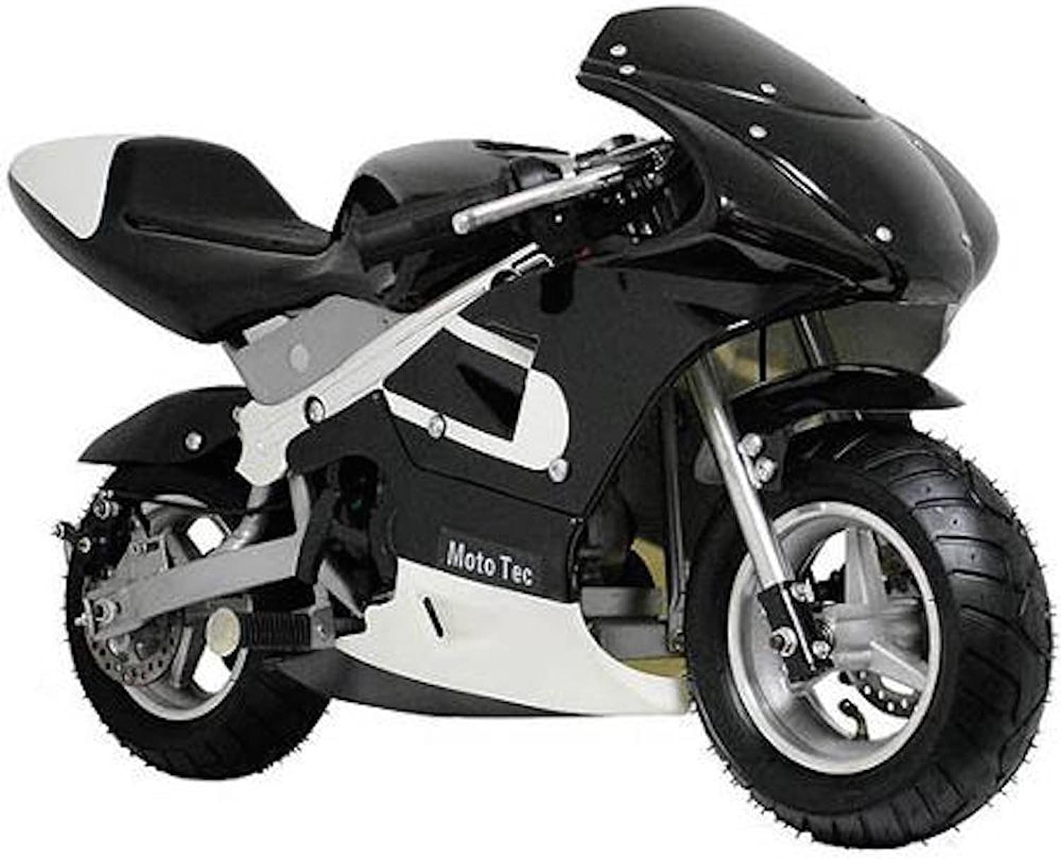 MotoTec Gas Pocket Bike Motorcycle -schwarz - Non CA compliant by MotoTec