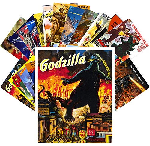 Price comparison product image Postcard Pack 24pcs Godzilla Vintage Movie Poster Kaiju Horror Monster