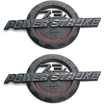 Red//Black 2 Pack 7.3 Power Stroke Intercooled Turbo Diesel Truck Super Duty Chrome Sticker Decal Emblem Badge