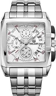MEGIR Men's Stainless Steel Business Quartz Watches Wateproof Luminous Chronograph Miitary Wristwatch Man