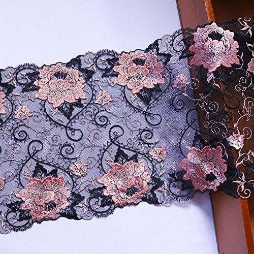 1 metro de 20,5 cm de ancho bordado de flores de encaje de malla negra para disfraz decorativo de encaje de tela para manualidades