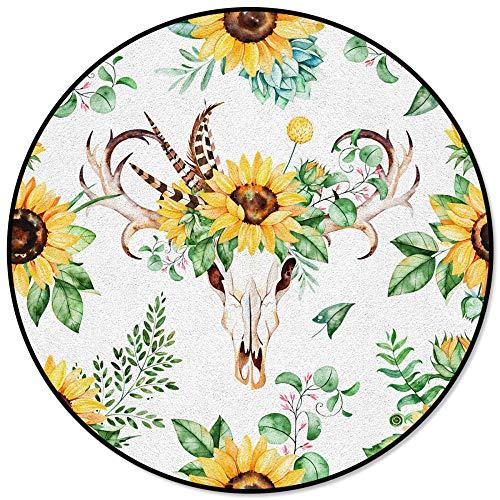 Fleurs de Tournesol Plumes Coins Feuille Impression Tapis Rond pour Salon Enfants Chambre Table à thé canapé Tapis Tapis Tapis-diamètre_90cm