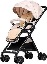 WANGLXST Silla de Paseo Calesa, Carrito de Bebé Cinturón de Seguridad de Cinco Puntos, Plegable Anti Choque Vista Alta Carro Infantil, Khaki