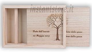 Scatola in legno con incisione personalizzata portafoto e Pennetta usb