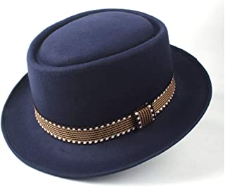 2019 Mens Womens Hats Unisex Men Women Flat Top Pop Church Soft Autumn Winter Fashion Women New Pork Pie Hat with Belt Panama Jazz Hat Fedora Hat Vintage Flat Hat (Color : Dark Blue, Size : 58)