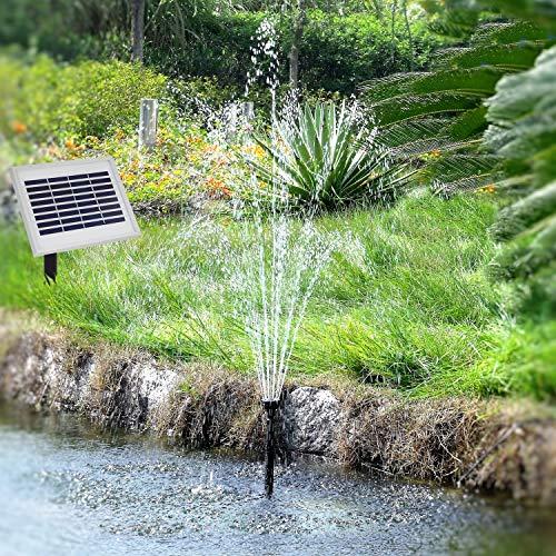 Solar Teichpumpe Springbrunnen Gartenpumpen Oslo 300 Light + Remote Solar Teichpumpen Set 3 Watt mit Fernbedienung, max. 300L/h, Wasserspiel mit Alu-Rahmen Akku-Betrieb Licht Timer und Memory-Funktion