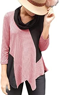 HEFASDM Womens Contrast Blouse Polka Dots Long Sleeve High Low T-Shirt