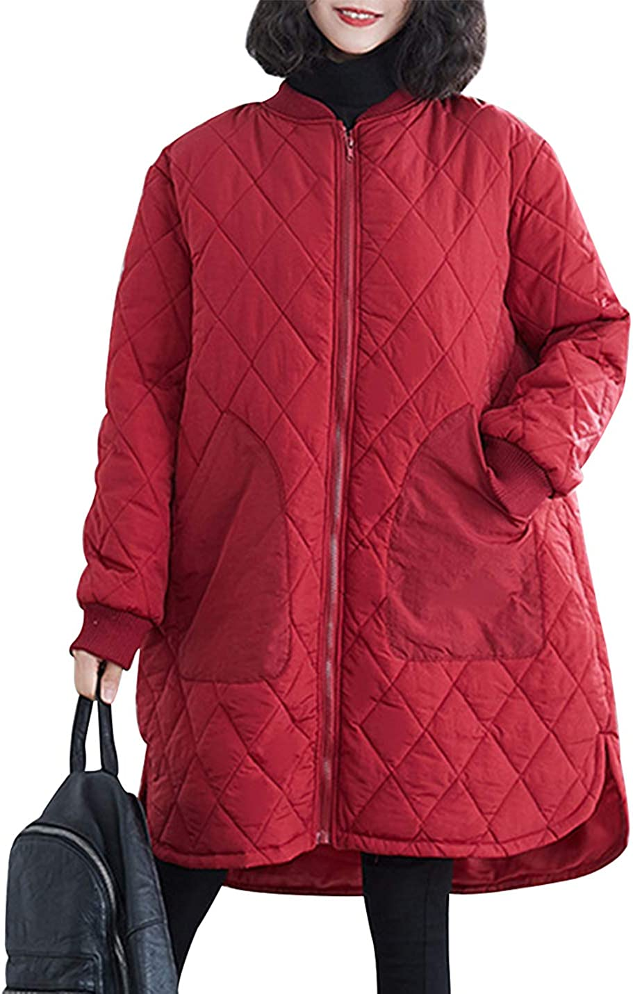 Gihuo Women's Loose Thick Padded Quilted Jacket Coat