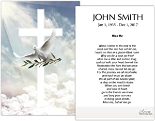 Funeral Memorial Prayer Cards (50 Cards) FPC1165EN Dove with Olive (Custom Printed - Select Desired Prayer)