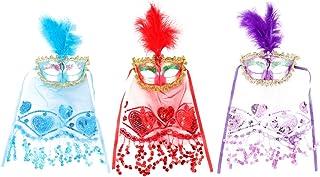 Amosfun - Maschera per la danza del ventre, con piuma, per gli occhi tribale, per cosplay, mascarata, martedì grasso, per ...