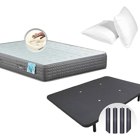 Dulces Sueños Pack COLCHON VISCOELASTICO Premium + Base TAPIZADA 3D + Patas + Almohada VISCO (90 x 190 cm)