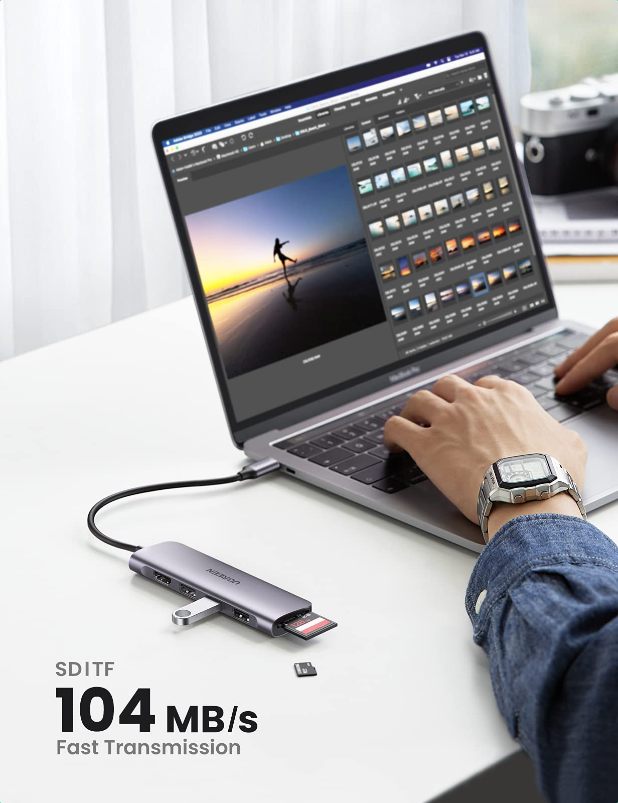 UGREEN 6 in 1 USB C Hub Multiports Type C Dock to HDMI Adapter USB-C Docking Station with 4K HDMI, SD TF Card Reader Slot, 3 USB 3.0 Ports Compatible for MacBook Pro/Air, Galaxy S20+,iPad Pro 2021,etc