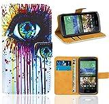 FoneExpert® HTC Desire 526 526G Handy Tasche, Wallet Hülle Flip Cover Hüllen Etui Ledertasche Lederhülle Premium Schutzhülle für HTC Desire 526 526G
