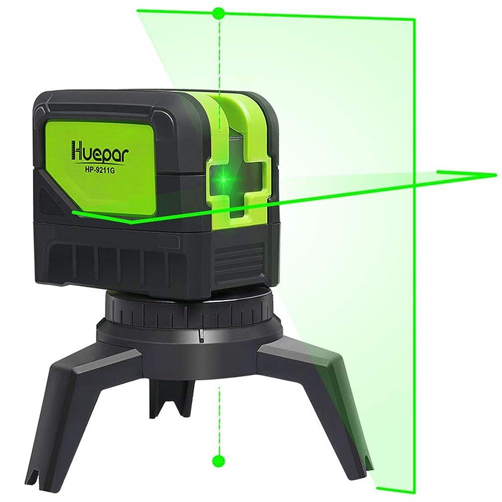 遮る見込みリンスHuepar 2ライン グリーン レーザー墨出し器 2ポイント 緑色 クロスラインレーザー 自動水平調整機能 高輝度 ライン出射角110°&180° 地墨 鉛直ポイント 2線2点