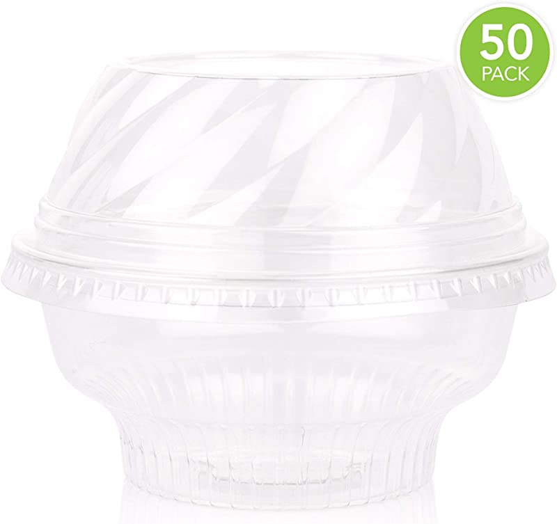 5 Ounce Clear Plastic Cups With Lids 50 Count 5 Oz Ice Cream Cups Disposable Dessert Cups Mini Snack Cups And Dome Lids Without Hole