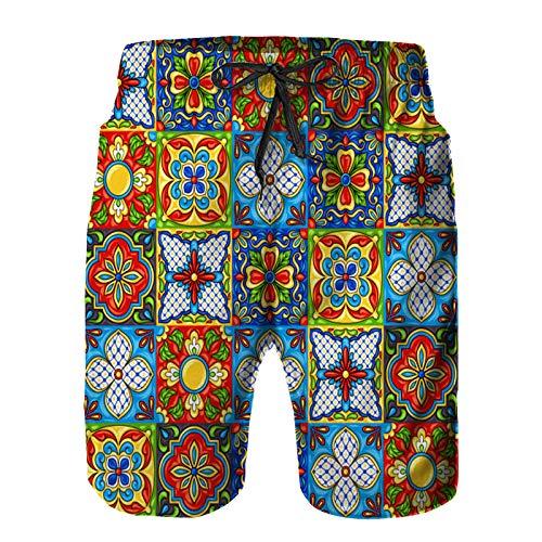 Aerokarbon Hombres Playa Bañador Shorts,patrón de baldosas de cerámica de Talavera Mexicana,Traje de baño con Forro de Malla de Secado rápido XL