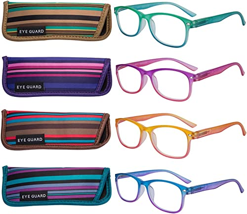 EYEGUARD 4 Pack Colorful Gradient Reading Glasses for Women Spring Hinge Readers Fashion Stylish Multicolor Durable E...