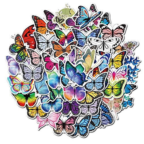 Butterfly Stickers for Water Bottles 50Pack,Aesthetic Fashion Stickers for Teens,Girls Perfect for Water Bottles Phone Travel Extra Durable Vinyl