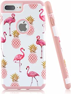 iPhone 8 Plus Case, Hybrid Phone Case with Dual Layer [Hard PC Back Cover + Inner Soft Silicone] for Apple, Emogins Cute Protective Case with Flamingo and Pineapple Design for Women Girls