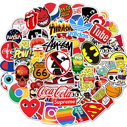 Cool Brand Stickers Pack, 100PCS No Repeats Stickers Fashion Brands Logo Stickers Decals for Adults Teens, Waterproof Vinyl Stickers for Skateboard Laptop Motorcycle Car Luggage Decoration